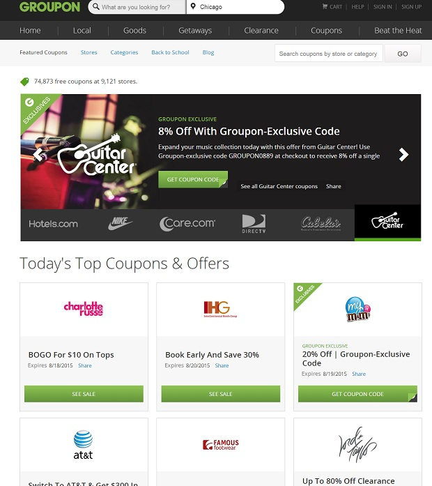 Groupon Coupons for electronics
